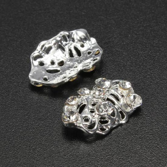 10Pcs Rhinestones Metal 3D Hollow Nail Art Tips DIY Decorations