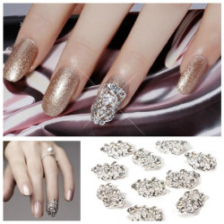 10Pcs Rhinestones Metal 3D Hollow Nail Art Tips DIY Decorations
