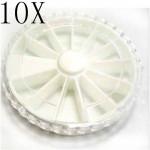10X Nail Art Empty Rhinestones Glitter Case Box Round Wheel