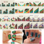 10X Peacock Feathers Butterfly Nail Art Sticker Tips 6 Style