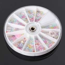 1200Pcs Bowknot Pearl Flower Nail Art DIY Decoration Wheel