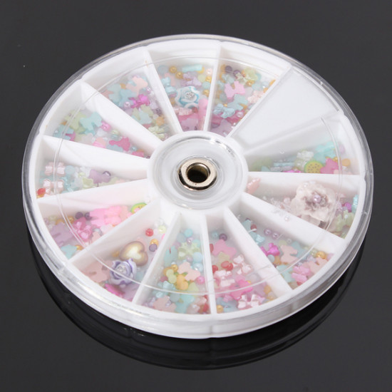 1200Pcs Bowknot Pearl Flower Nail Art DIY Decoration Wheel 2021
