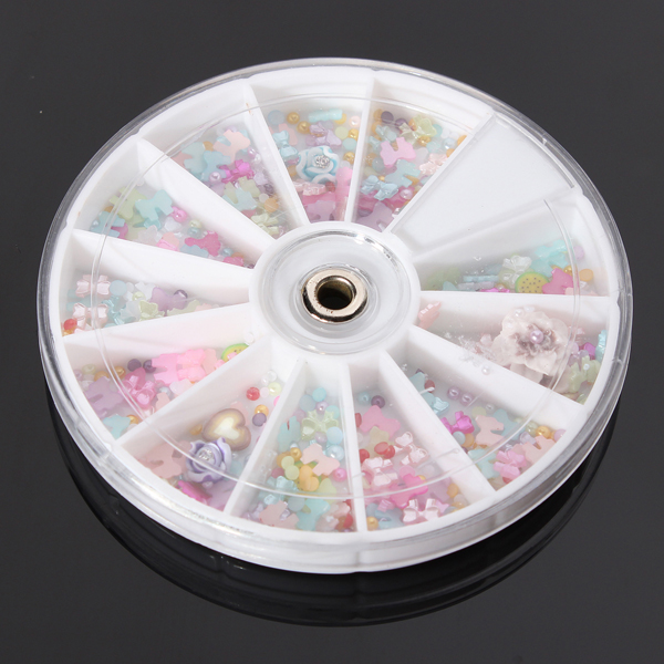 1200Pcs Bowknot Pearl Flower Nail Art DIY Decoration Wheel Nail Art