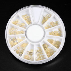120pcs 12 Styles Nail Art Hollow Gold Metal Slice Decoration Wheel