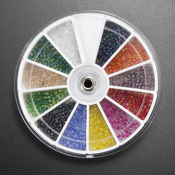 12 Color 3D Shining Nail Art Beeds Round Hole Beads Decoration Wheel Nail Art