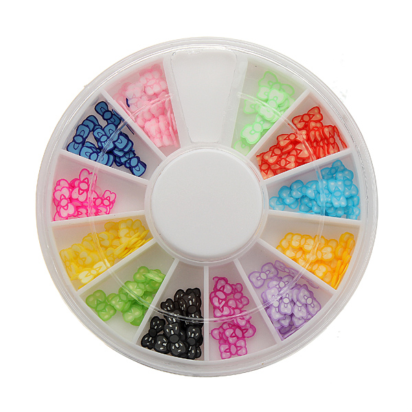 12 Color Bow Tie Slice Arylic Nail Art Decoration Wheel
