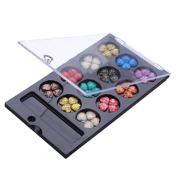 12 Color Heart Nail Art Glitter Crystal Rhinestone Phone Decoration Nail Art