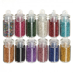 12 Color Nail Art Tips Caviar Beads Balls Manicure Decoration
