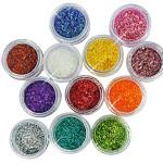 12 Color Short Glitter Strip Lace Nail Art Design Set Nail Art