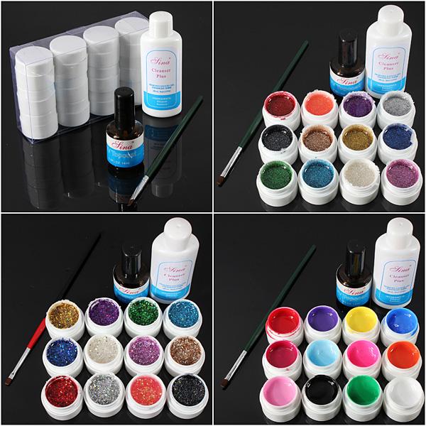 12 Color UV Gel Cleanser Plus Top Coat Brush Nail Art Set Nail Art