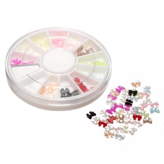 12 Colors 3D Bowknot Design Nail Art Decoration Wheel 2021