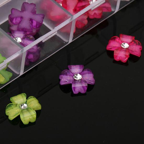 12 Colors Flower Rhinestone Nail Art Decoration Plastic case 2021