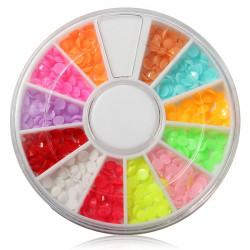 12 Colors Half Round Nail Art Acrylic Decoration Wheel