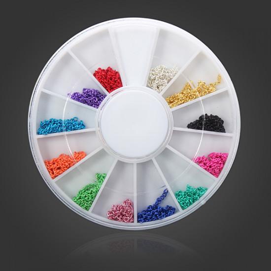 12 Colors Metal Line Chains Nail Art Tip Decoration 2021