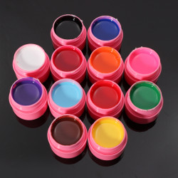 12 Colors Mix Pure Acrylic Nail Art Manicures UV Gel Builder Set