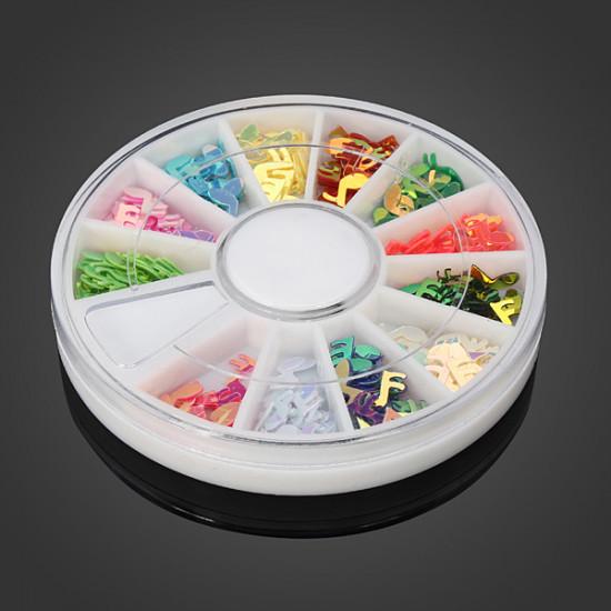 12 Colors Musical Notes DIY Nail Art Decoration Wheel 2021