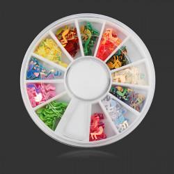 12 Colors Musical Notes DIY Nail Art Decoration Wheel