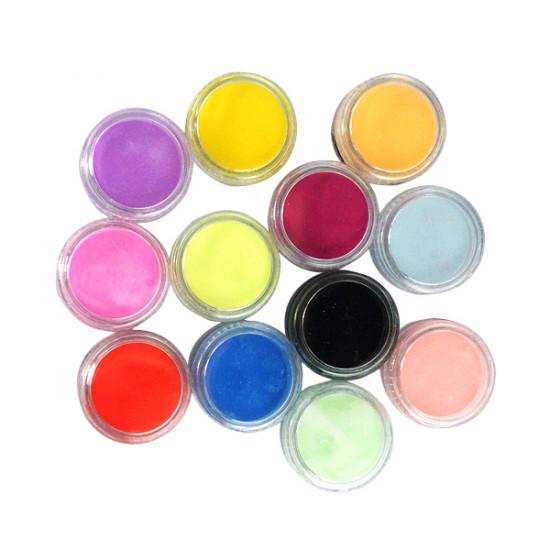 12 Colors Nail Art Tips Acrylic 3D UV Gel Powder Dust 2021