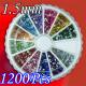 12 Colors Nail Art Tips Glitter Rhinestones with Wheel 2021