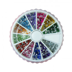 12 Colors Nail Art Tips Glitter Rhinestones with Wheel