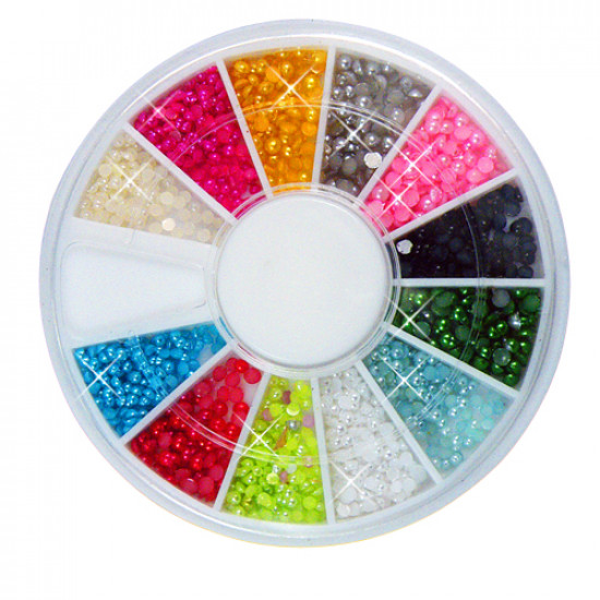 12 Colors Nail Art Tips Pearls Beads Decoration Wheel 2021