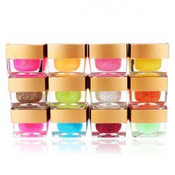 12 Colors Nail Art UV Builder Gel Glitter Acrylic Set