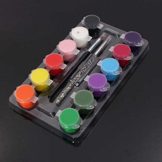 12 Colors Pure Nail Art Acrylic Painting Pigment Brush Pen Set 2021