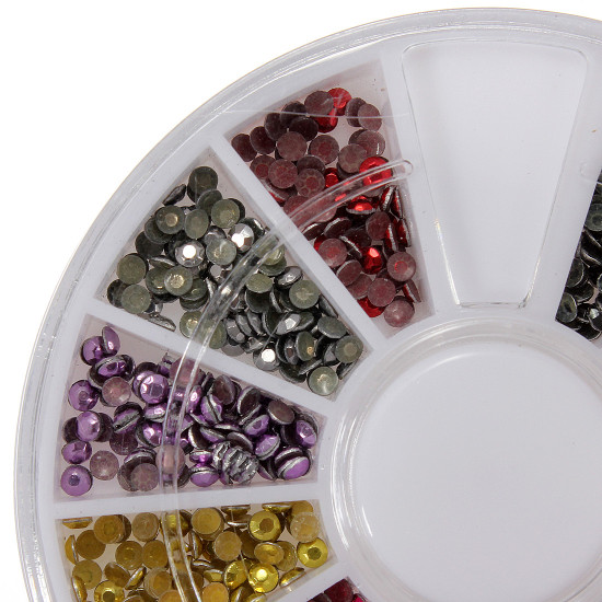12 Colors Round Flatback Metallic Bead Nail Art Decoration Wheel 2021