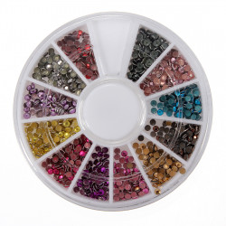 12 Colors Round Flatback Metallic Bead Nail Art Decoration Wheel