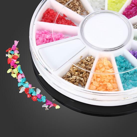 12 Colors Shell Powder DIY Nail Art Decoration Wheel 2021