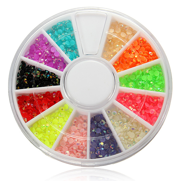 12 Colors Shiny Glitter Rhinestones Nail Art Decoration Wheel Nail Art