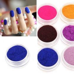 12 Colors Velvet Powder Dust Nail Art Tool Decoration Set