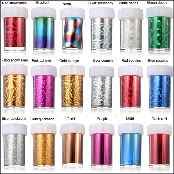 1.2 Meter Acrylic Multicolor Nail Art Transfer Foil Strip Decoration