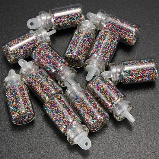 12 Mixed Color Mini 3D Caviar Nail Art Decoration Beads Bottle Set 2021