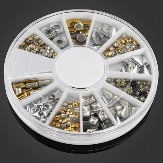 12 Mixed Styles 3D Gold Silver Metal Rivets Nail Decoration Wheel 2021