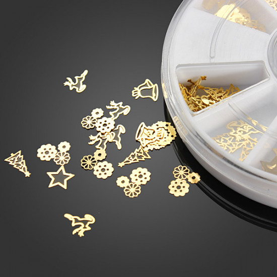 12 Mixed Styles 3D Metal Christmas Nail Slice Sticker Decoration Wheel 2021