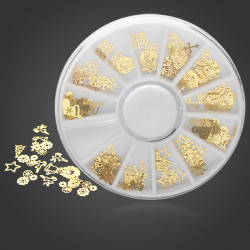 12 Mixed Styles 3D Metal Christmas Nail Slice Sticker Decoration Wheel
