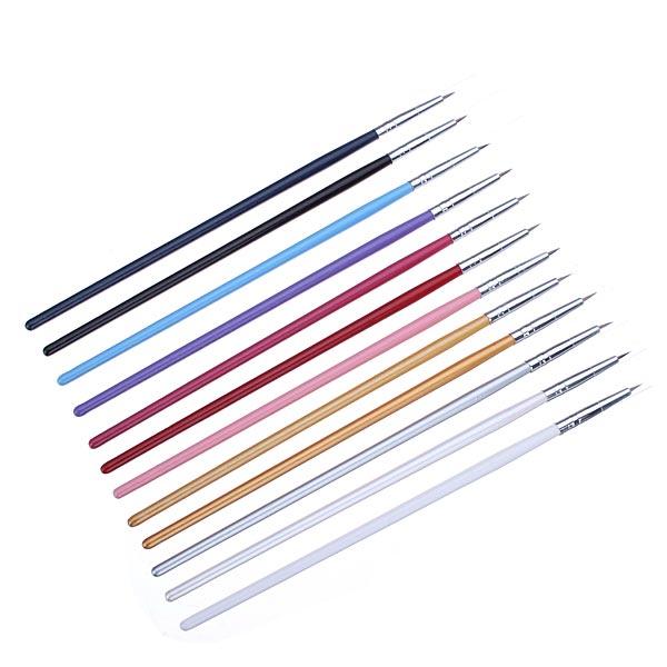 12Pcs Colorful Nail Art Design Painting Pen Brush Set