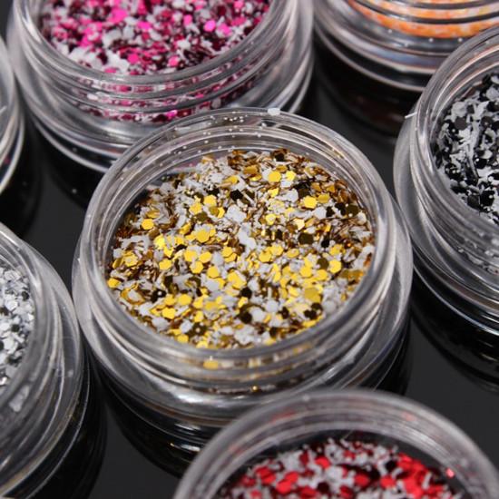 12Pcs Glitter Nail Art Tips Acrylic Powder Dust Manicure Set 2021