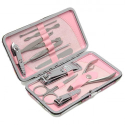 12Pcs Stainless Steel Flower Leather Case Nail Clipper Set