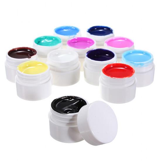 12 Pure Colors Nail Art UV Gel Builder Polish Set 2021