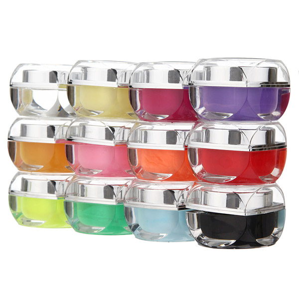 12 Solid Colors UV Builder Nail Art Design Glaze Gel Nail Art