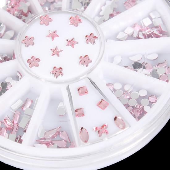 12 Styles Pink Acrylic Rhinestone Nail Decoration Wheel 2021