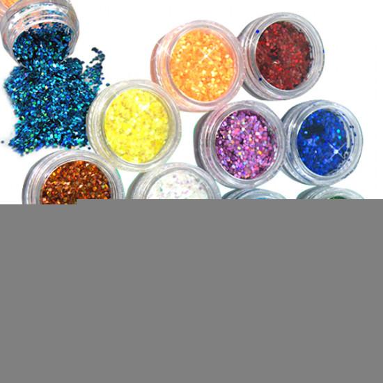12 colors Hexagon Glitter powder1mm Set for 3D nail Art 2021