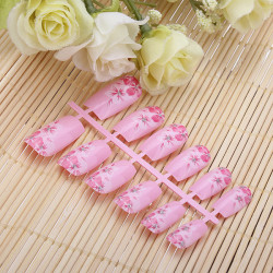 12pcs 3D Pink Flower French Acrylic Full False Nail Art Tips