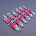 12pcs 3D Translucent Flower French Acrylic Full False Nail Art Tips Nail Art