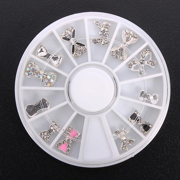 12pcs Glitter Crystal Bowknot Nail Art Decoration Round Wheel