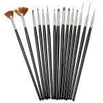 15Pcs Black Nail Art Acrylic UV Gel Design Brush Set Nail Art