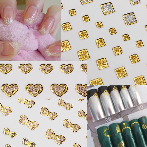 15 Style Glitter Golden Water Nail Art Transfer Sticker Nail Art Tips Nail Art