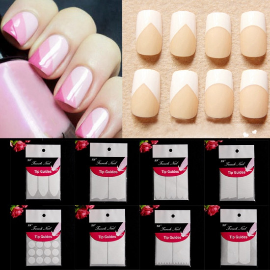 15 Styles White French Manicure Nail Art Sticker Tips Guides 2021